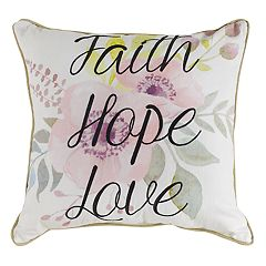 Floral ''Faith, Hope, Love'' Throw Pillow