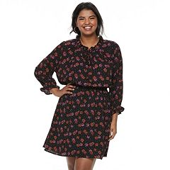 Juniors' Plus Size Wrapper Floral Dotted Peasant Dress