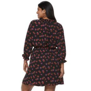 Juniors' Plus Size Wrapper Floral Dotted Peasant Dress