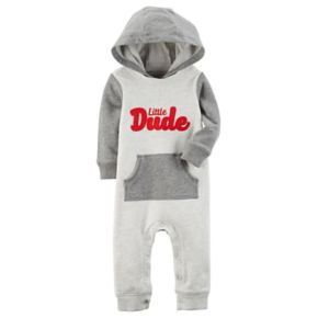 """Baby Boy Carter's """"Little Dude"""" Hooded Coverall"""