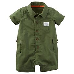 Baby Boy Carter's Olive Buttoned Cargo Romper