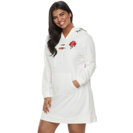 Juniors' Plus Size Almost Famous Floral Applique Hooded Dress