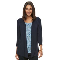 Women's Croft & Barrow® Mock-Layer Print Cardigan