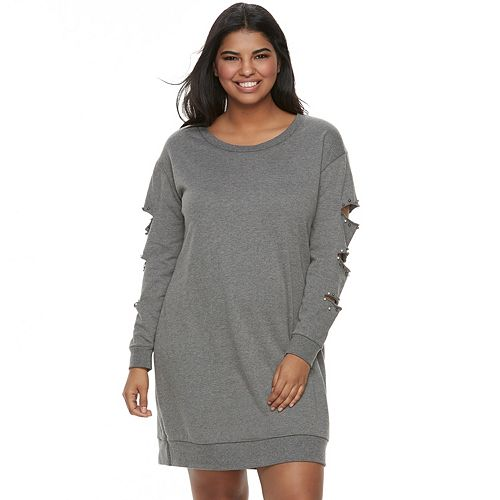 Juniors\' Plus Size Almost Famous Simulated Pearl Cutout Sweatshirt Dress