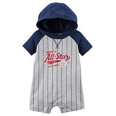 Baby Boy Carter's 'Mommy's All-Star' Striped Baseball Hooded Romper
