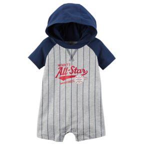 "Baby Boy Carter's ""Mommy's All-Star"" Striped Baseball Hooded Romper"