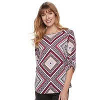 Women's Croft & Barrow® Print Roll-Tab Top