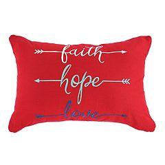 ''Faith, Hope, Love'' Oblong Throw Pillow