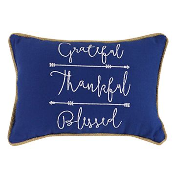 ''Grateful, Thankful, Blessed'' Mini Oblong Throw Pillow
