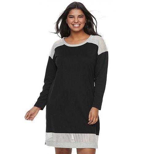 Juniors' Plus Size Almost Famous Mesh Colorblock Sweatshirt Dress