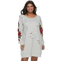 Juniors' Plus Size Almost Famous Rose Applique Cutout Sweatshirt Dress