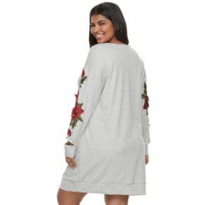 Juniors' Plus Size Almost Famous Rose Applique Cutout Sweatshirt Dress