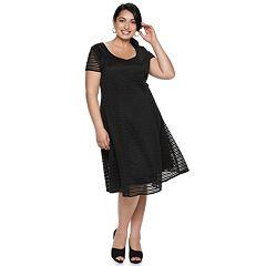 Plus Size Suite 7 Texture Fit & Flare Dress