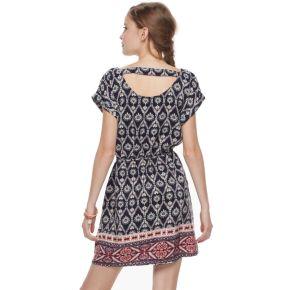 Juniors' Pink Republic Print Bar-Back Dress
