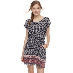 Juniors' Pink Republic Print Bar-Back Dress