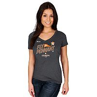 Women's Majestic Houston Astros 2017 American League Champs Locker Room Tee