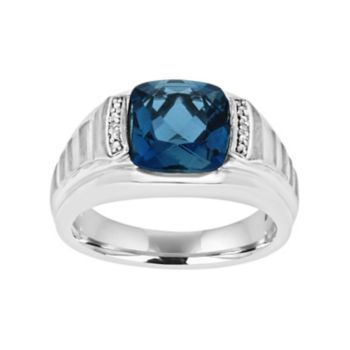 Men's Sterling Silver London Blue Topaz & Diamond Accent Ring