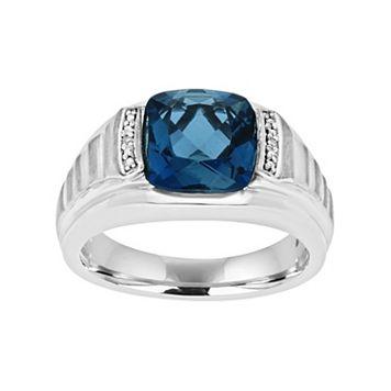 Men's Sterling Silver London Blue Topaz & Diamond Accent Ring