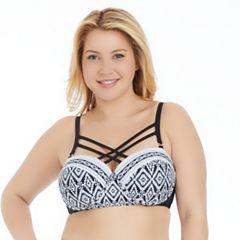 Plus Size Island Soul Curve Geometric Strappy Bikini Top