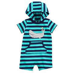 Baby Boy Carter's Whale Striped Hooded Romper