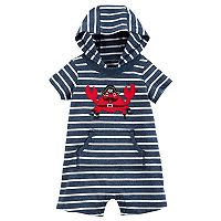 Baby Boy Carter's Pirate Crab Striped Hooded Romper