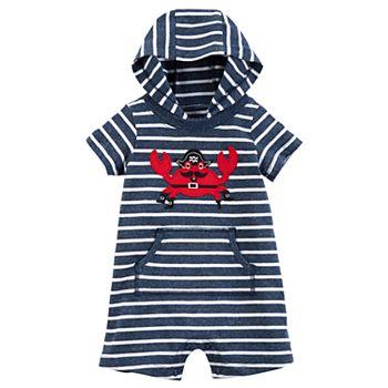 e0151b43f Baby Boy Carter's Pirate Crab Striped Hooded Romper