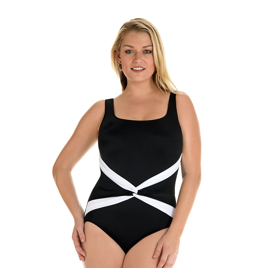 Women's Great Lengths Tummy Slimmer Sash Detail One-Piece Swimsuit