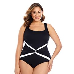 Plus Size Great Lengths Tummy Slimmer Sash Detail One-Piece Swimsuit