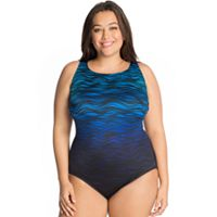 Plus Size Great Lengths Tummy Slimmer High-Neck One-Piece Swimsuit