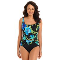 Women's Great Lengths Tummy Slimmer Floral Sash Detail One-Piece Swimsuit