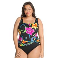 Plus Size Great Lengths Tummy Slimmer Floral Sash Detail One-Piece Swimsuit