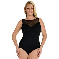 Women's Great Lengths Tummy Slimmer High-Neck One-Piece Swimsuit