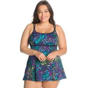 Plus Size Great Lengths Tummy Slimmer Empire Swimdress