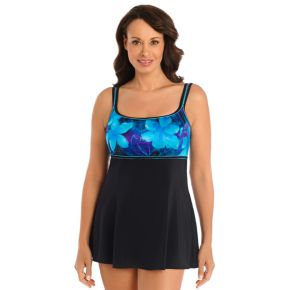 Women's Great Lengths Tummy Slimmer Printed Empire Swimdress