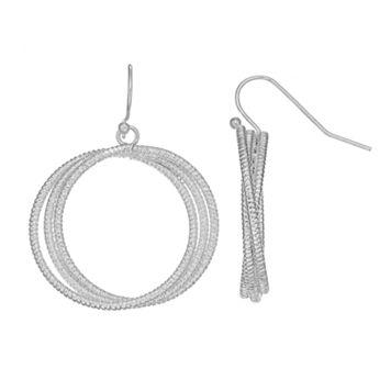 Textured Crisscross Nickel Free Hoop Drop Earrings