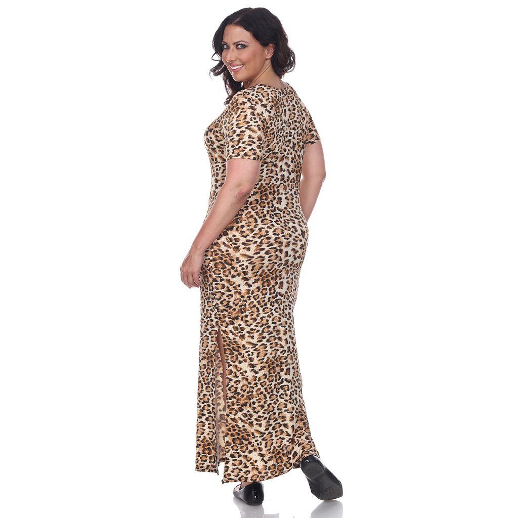 Plus Size White Mark Print Maxi Dress