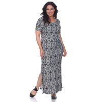 Plus Size White Mark Print Maxi Dress