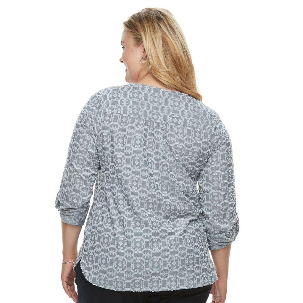 Plus Size Croft & Barrow® Print Henley Tunic