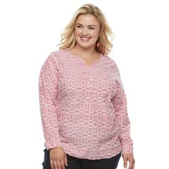 Plus Size Croft & Barrow® Print Henley Tunic