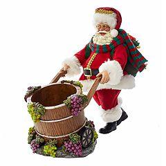 Kurt Adler Santa & Wine Barrel Christmas Table Decor