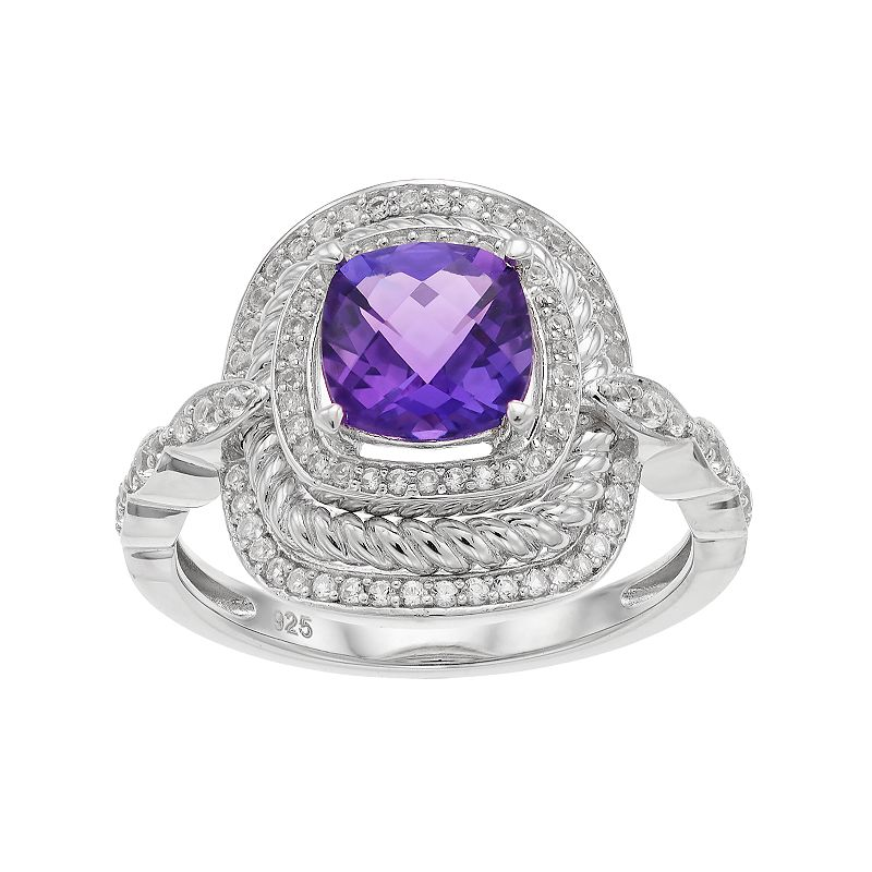 Sterling Silver Amethyst & Lab-Created White Sapphire Halo Ring, Women's, Size: 8, Purple