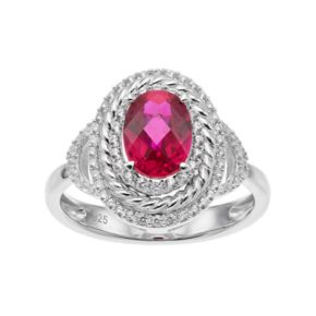 Sterling Silver Lab-Created Ruby & White Sapphire Oval Halo Ring