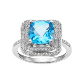 Sterling Silver Blue Topaz Tiered Halo Ring