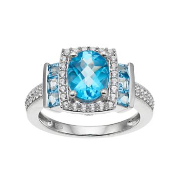 Sterling Silver Blue Topaz & Lab-Created White Sapphire Halo Ring