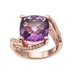 14k Rose Gold Over Silver Amethyst & Lab-Created White Sapphire Ring