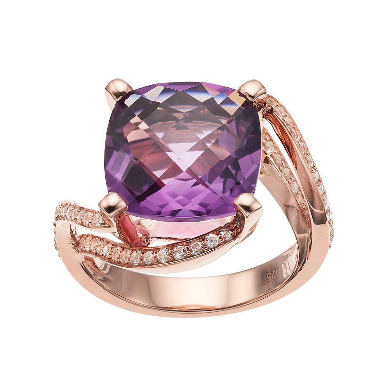 14k Rose Gold Over Silver Amethyst & Lab-Created White Sapphire Ring, Women's, Size: 8, Purple