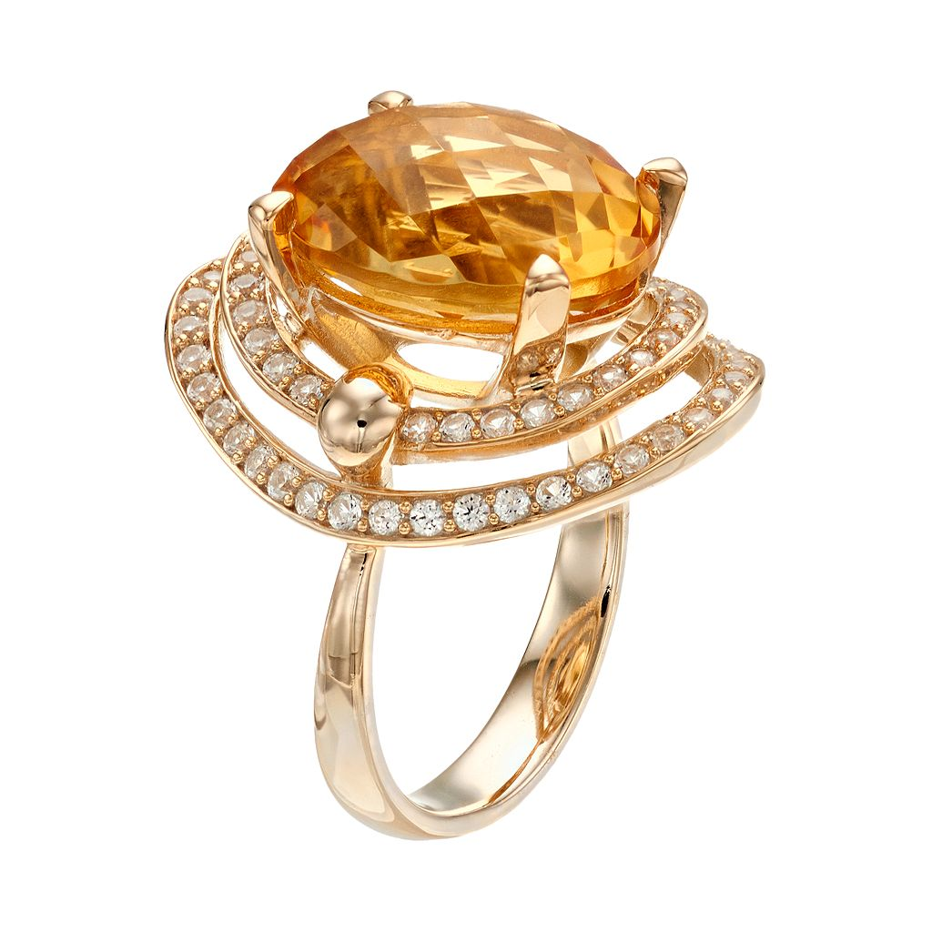 14k Gold Over Silver Citrine & Lab-Created White Sapphire Oval Halo Ring