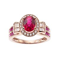 14k Rose Gold Over Silver Lab-Created Ruby & White Sapphire Oval Halo Ring