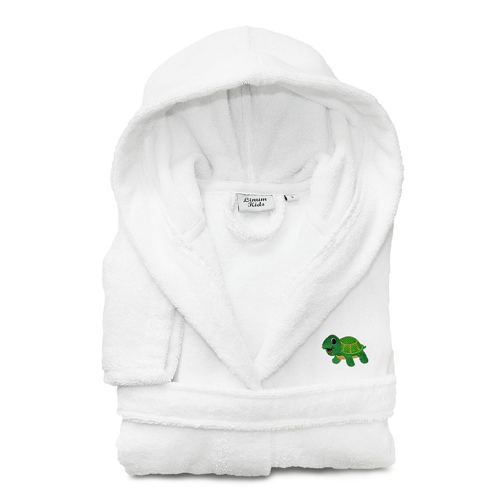 Kids Linum Home Textiles Turtle Embroidered Terry Hooded Bathrobe