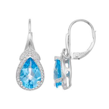 Sterling Silver Blue Topaz & Lab-Created White Sapphire Teardrop Earrings